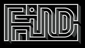 Labirinto 3D cinzento criativo da palavra do achado-Eglish foto de stock royalty free
