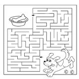 Labirinto da educação ou jogo do labirinto para crianças prées-escolar Enigma Esboço da página da coloração do cão com osso Livro Fotografia de Stock