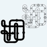 Labirinto das tubulações do metal, esgoto Imagem de Stock