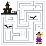 Labirinto de Dia das Bruxas - bruxa e casa assombrada ilustração royalty free