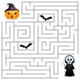 Labirinto de Dia das Bruxas - Ceifador & abóbora ilustração do vetor