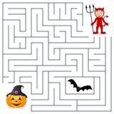Labirinto de Dia das Bruxas - diabo vermelho e abóbora ilustração do vetor