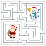 Labirinto de Santa Claus & do boneco de neve para crianças Fotografia de Stock
