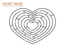 Labirinto del cuore con la soluzione Fotografie Stock Libere da Diritti