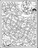 Labirinto del formaggio & del mouse - il nero & bianco royalty illustrazione gratis