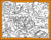 Labirinto del mouse, del formaggio, del gatto e della presa illustrazione vettoriale
