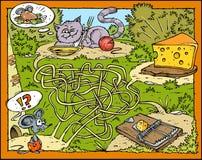 Labirinto del mouse, del formaggio, del gatto e della presa Immagini Stock