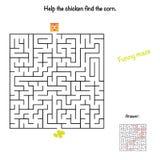 Labirinto del pollo per i bambini Fotografia Stock Libera da Diritti