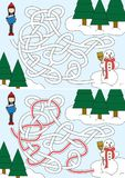 Labirinto del pupazzo di neve della costruzione Fotografia Stock