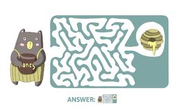 Labirinto del ` s dei bambini con l'orso ed il miele Gioco di puzzle per i bambini, royalty illustrazione gratis