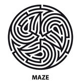 Labirinto del tatuaggio di simbolo di triscele Labirinto circolare geometrico Fotografia Stock Libera da Diritti