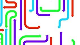 Labirinto delle frecce variopinte su fondo bianco, ciclo senza cuciture, animazione di CG royalty illustrazione gratis