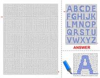 Labirinto di alfabeto per i bambini Fotografia Stock Libera da Diritti