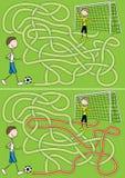 Labirinto di gioco del calcio Fotografia Stock Libera da Diritti