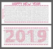 labirinto di mistero con l'iscrizione cifrata 2019 Il concetto è un simbolo del nuovo anno illustrazione di stock