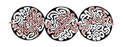 Labirinto di vettore, illustrazione del labirinto con la soluzione Fotografia Stock