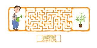 Labirinto di vettore, labirinto con il giardiniere e pianta Fotografie Stock