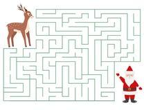 Labirinto divertente di Natale per i bambini Fotografia Stock Libera da Diritti