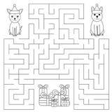 Labirinto divertente per i bambini I cani stanno cercando i regali Fotografia Stock Libera da Diritti