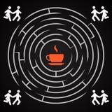 Labirinto do café - os pares correm para uma xícara de café Imagem de Stock