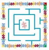 Labirinto do enigma de serra de vaivém Imagens de Stock Royalty Free
