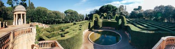 Labirinto do parque em Barcelona, Espanha Imagem de Stock