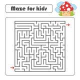 Labirinto do quadrado preto com entrada e saída Com um cogumelo bonito dos desenhos animados Ilustração lisa simples do vetor iso ilustração royalty free