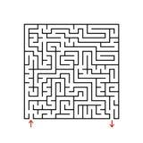 Labirinto do quadrado preto com entrada e saída Um jogo para crianças e adultos Ilustração lisa simples do vetor isolada no backg ilustração stock