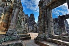 Labirinto do templo do bayon - Cambodia (HDR) Foto de Stock Royalty Free
