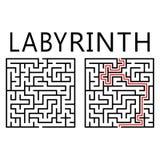 Labirinto do vetor com solução Fotografia de Stock Royalty Free