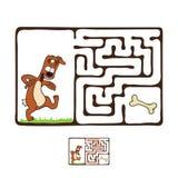 Labirinto do vetor, labirinto com cão Fotografia de Stock