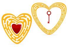 Labirinto dorato del cuore Fotografia Stock
