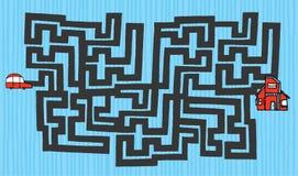 Labirinto dos desenhos animados do carro a abrigar Imagens de Stock Royalty Free