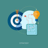 Labirinto e concetto piano dell'icona di soluzione dei problemi Fotografia Stock