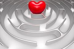 Labirinto e coração do círculo no fundo branco Ilustra??o 3d isolada ilustração stock