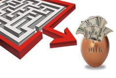 Labirinto e dinheiro 401K Foto de Stock
