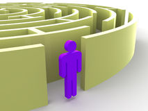 Labirinto e homem Fotografia de Stock