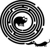Labirinto engraçado do gato e do cão Imagem de Stock