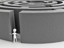 Labirinto entrante dell'uomo bianco del bastone Immagini Stock Libere da Diritti