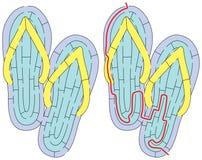 Labirinto fácil dos flip-flops ilustração stock