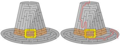 Labirinto facile del cappello del pellegrino Immagini Stock Libere da Diritti