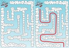 Labirinto facile dell'aeroplano illustrazione di stock