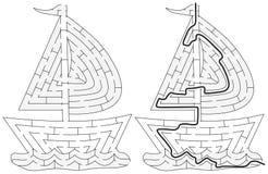 Labirinto facile della barca royalty illustrazione gratis