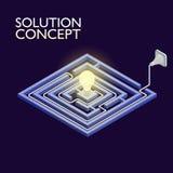 Labirinto isométrico com luz elétrica, conceito da solução do labirinto Imagens de Stock Royalty Free