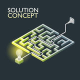 Labirinto isométrico com luz elétrica, conceito da solução do labirinto Fotografia de Stock Royalty Free