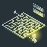 Labirinto isométrico com luz elétrica, conceito da solução do labirinto Imagem de Stock