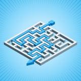 Labirinto isométrico, conceito da solução do labirinto em um fundo radial azul Fotografia de Stock