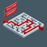 Labirinto isométrico, conceito da solução do labirinto Molde de Infographic Fotografia de Stock Royalty Free