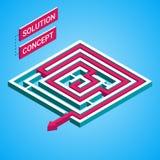 Labirinto isométrico, conceito da solução do labirinto Molde de Infographic Imagens de Stock Royalty Free