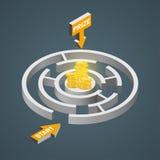 Labirinto isométrico, conceito da solução do labirinto Molde infographic moderno Ilustração isométrica do vetor Foto de Stock